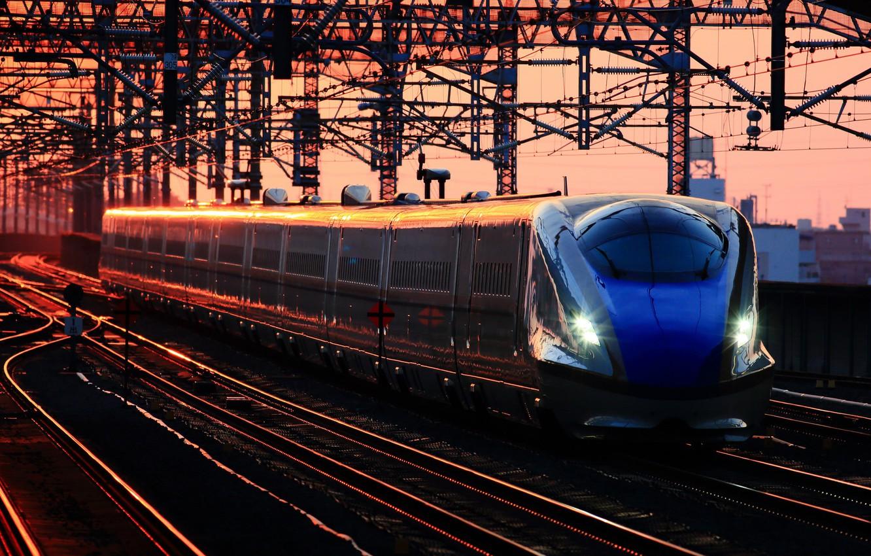 Photo wallpaper dawn, train, station, cars