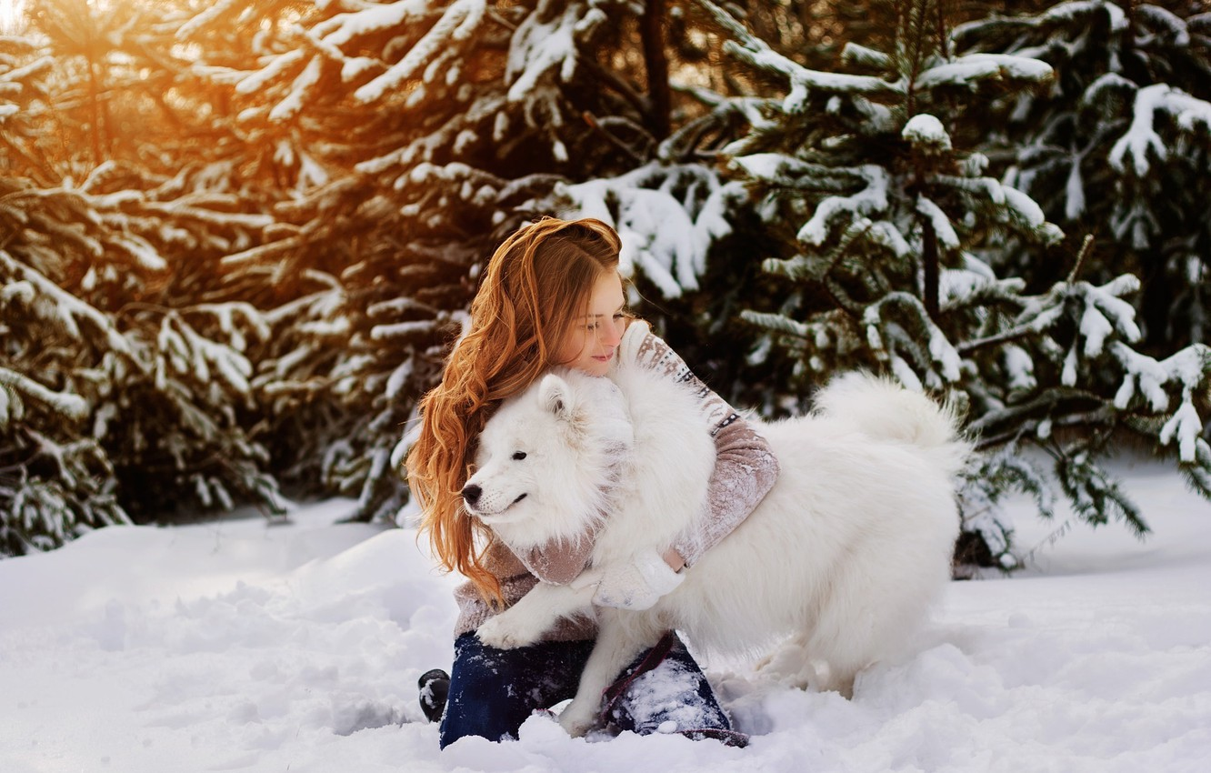 Photo wallpaper winter, girl, snow, trees, nature, dog, white, red, walk