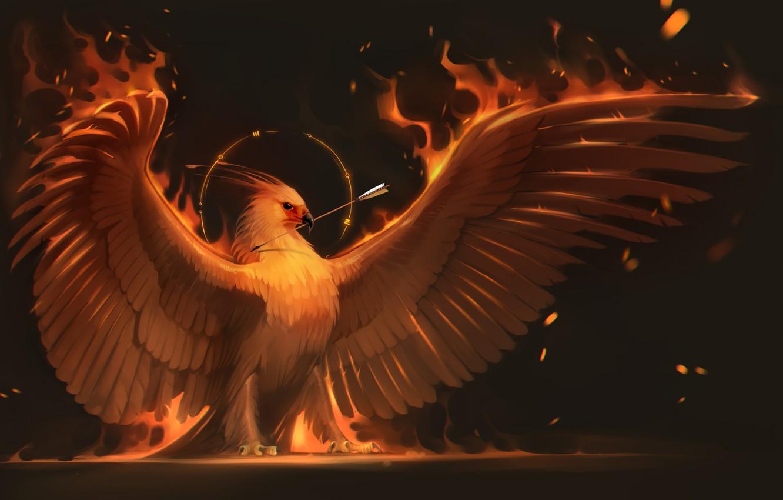 Photo wallpaper fire, bird, wings, art, arrow, Phoenix, phoenix