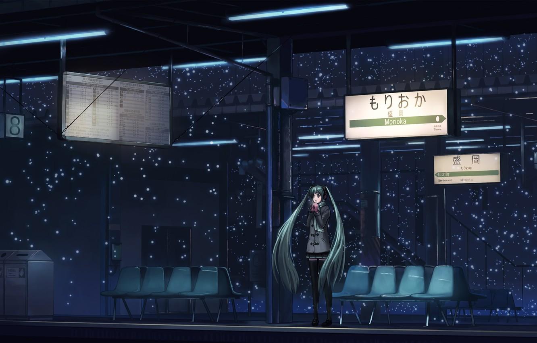 Photo wallpaper snow, night, station, Japan, the platform, signs, vocaloid, Hatsune Miku, one, coat, long hair, Vocaloid, …