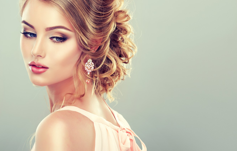 Photo wallpaper girl, eyelashes, model, hair, makeup, hairstyle, decoration, blue eyes, fashion, earrings, model, elegant, cosmetics, makeup