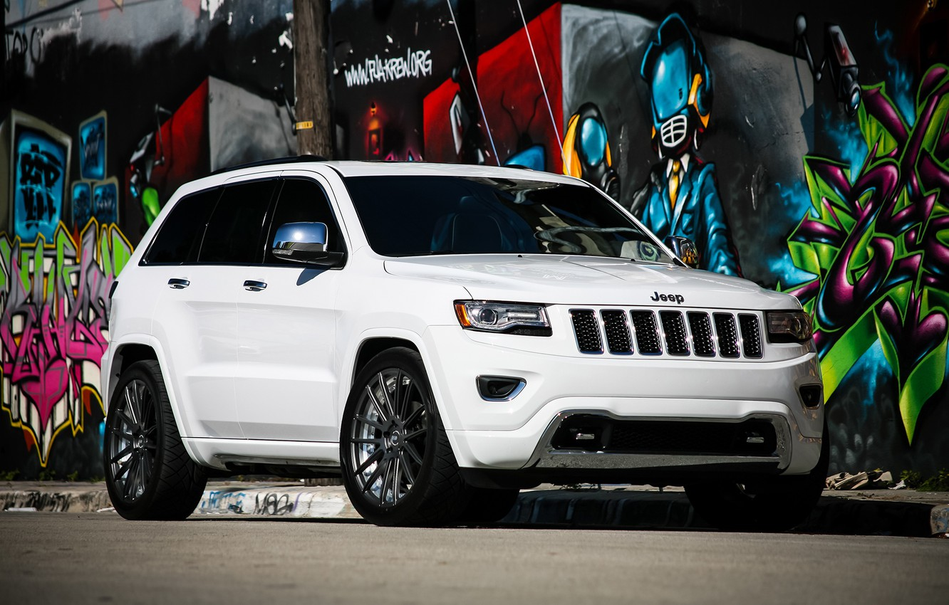 Photo wallpaper lights, Grand, wheels, with, and, Jeep, Luxury, Cherokee, lowered, smoked