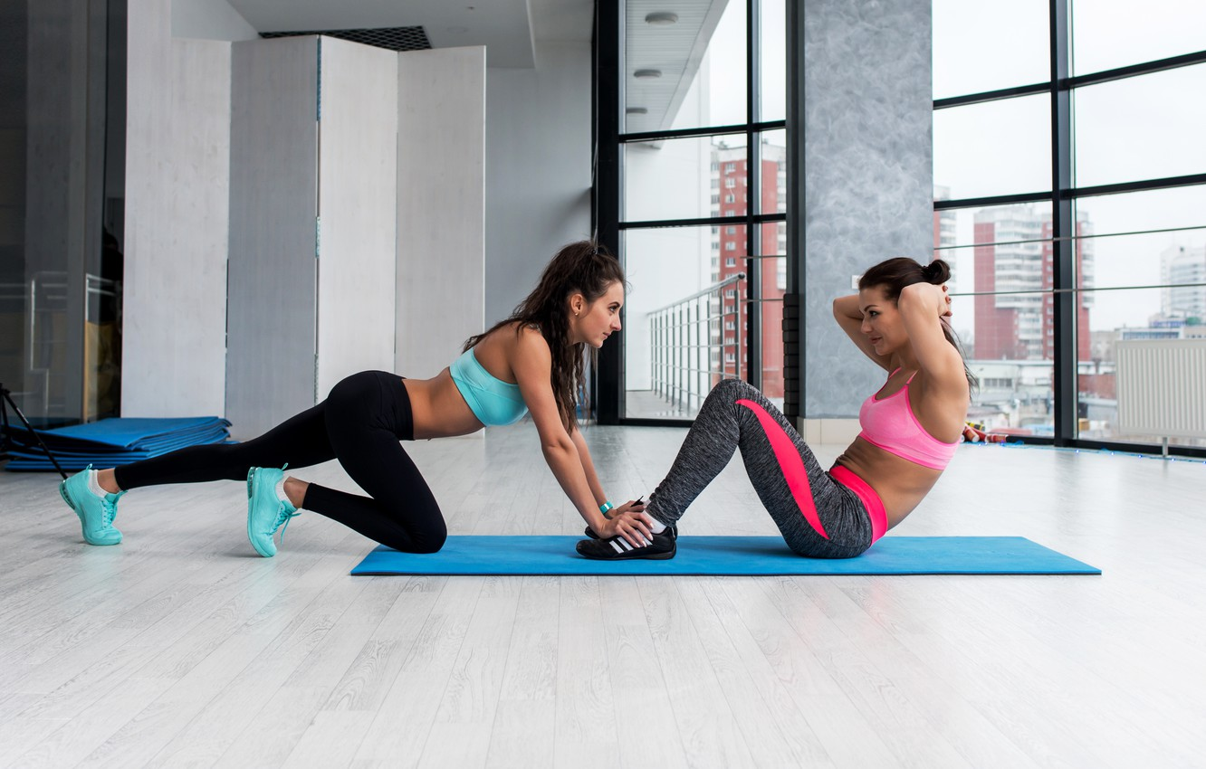 Photo wallpaper couple, workout, fitness, abs