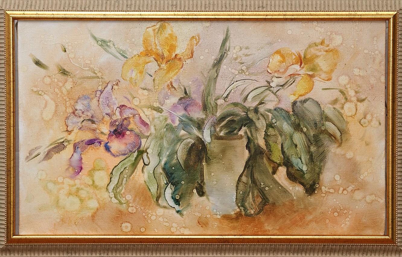 Photo wallpaper drops, flowers, picture, purple, yellow, Still life, Sfumato, gift painting, Petrenko Svetlana