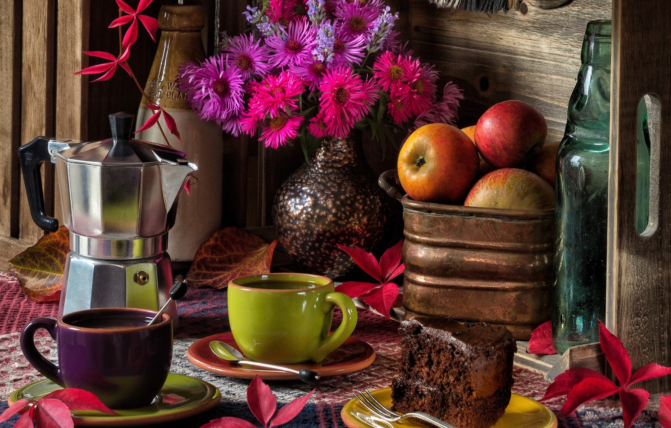Photo wallpaper leaves, flowers, apples, coffee, bouquet, mugs, still life, cake, asters, coffee maker