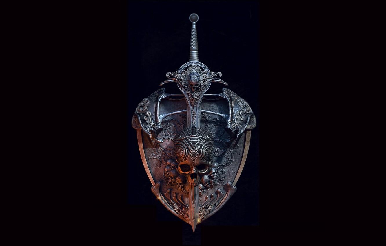 Photo wallpaper Skull, Sword, Black background, Shield