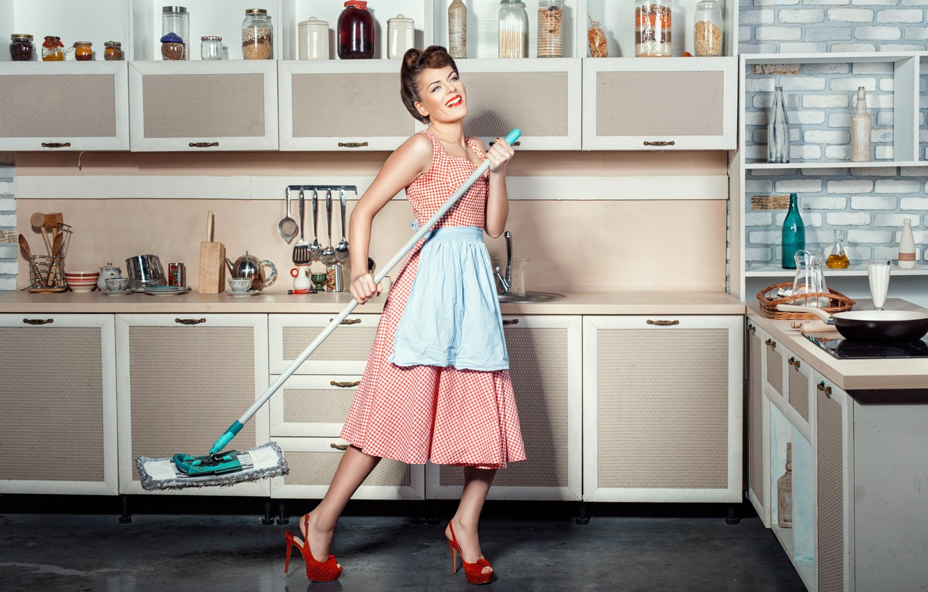 Photo wallpaper girl, cleaning, kitchen, MOP