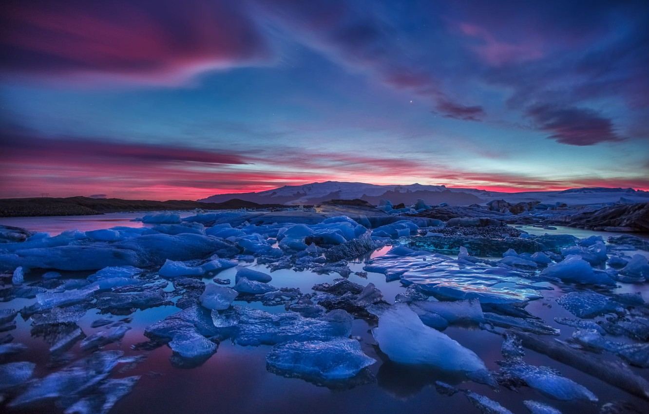 Photo wallpaper Landscape, Water, Sunset, Ice, Cold