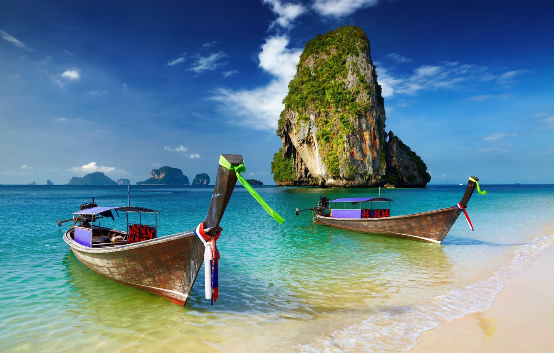 Photo wallpaper sea, boats, Thailand