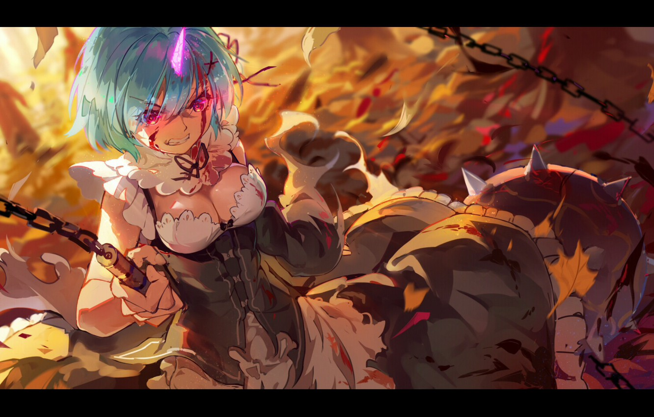 Photo wallpaper the demon, rage, chain, neckline, the battle, the maid, horn, burning eyes, autumn leaves, Rem, …