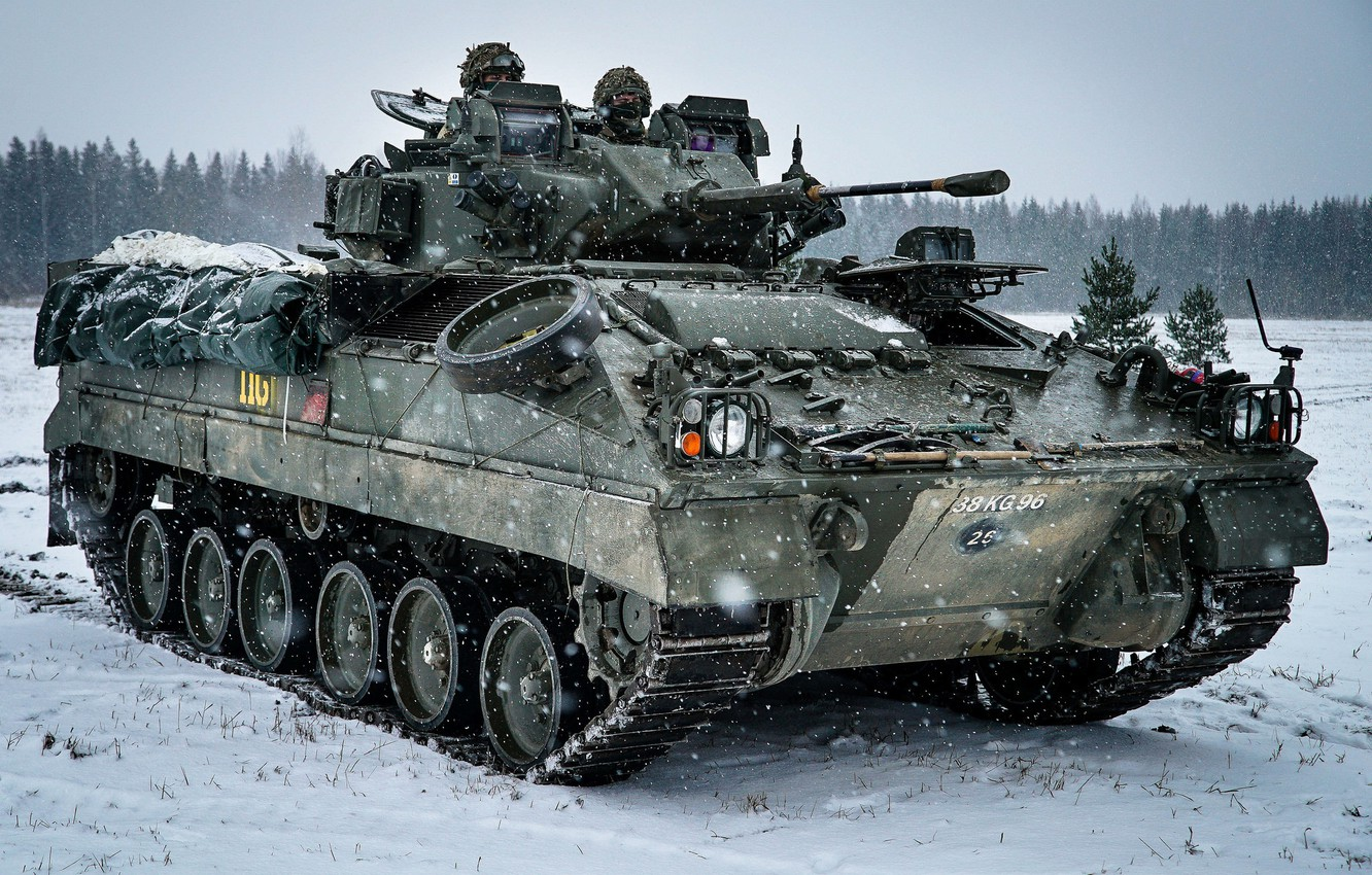 Photo wallpaper winter, machine, snow, infantry, armored