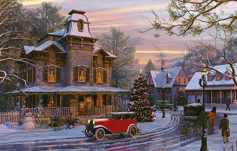 Photo wallpaper machine, the sky, trees, holiday, street, tree, home, the evening, snowman, Dominic Davison