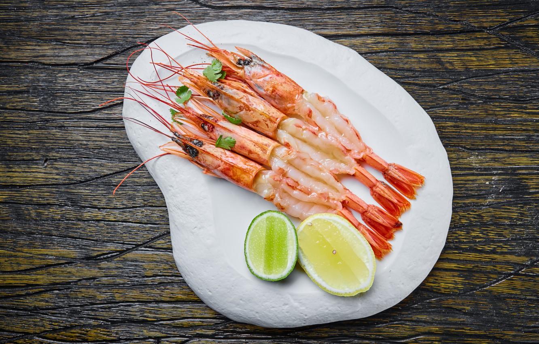 Photo wallpaper lemon, shrimp, seafood