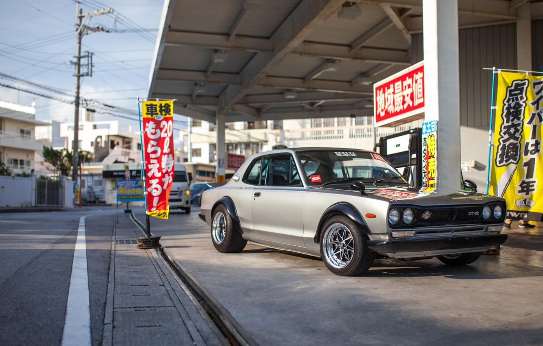 Photo wallpaper Auto, Machine, Grey, Nissan, Lights, Car, 2000, Skyline, Nissan Skyline, The front, 2000GT, Japanese, Metallic, …