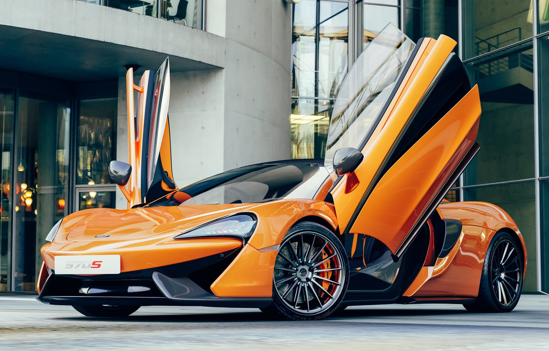 Photo wallpaper design, the building, car, McLaren 570S