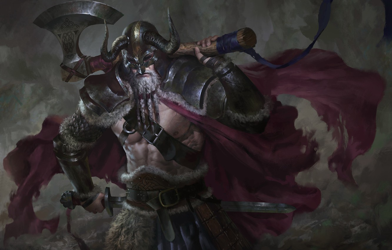 Photo wallpaper weapons, sword, armor, warrior, axe, Viking