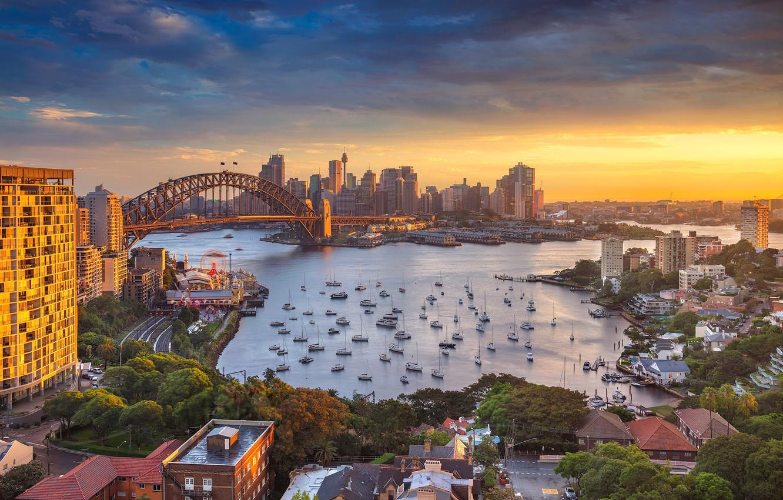 Photo wallpaper bridge, Strait, home, Australia, panorama, Sydney, harbour