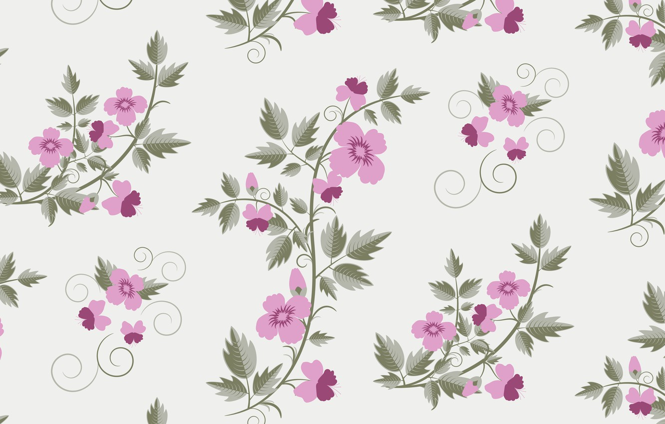 Photo wallpaper vector, texture, retro, with, flowers, pattern, floral