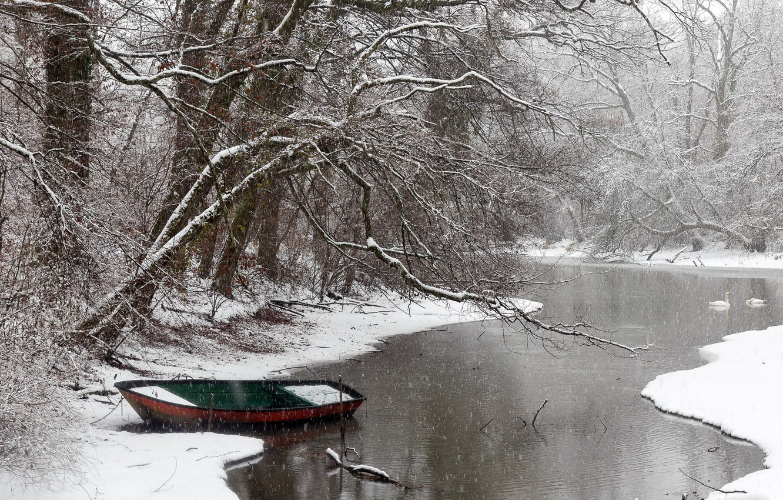 Photo wallpaper winter, snow, river, boat