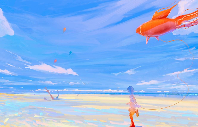 Photo wallpaper sea, fish, girl, balloons