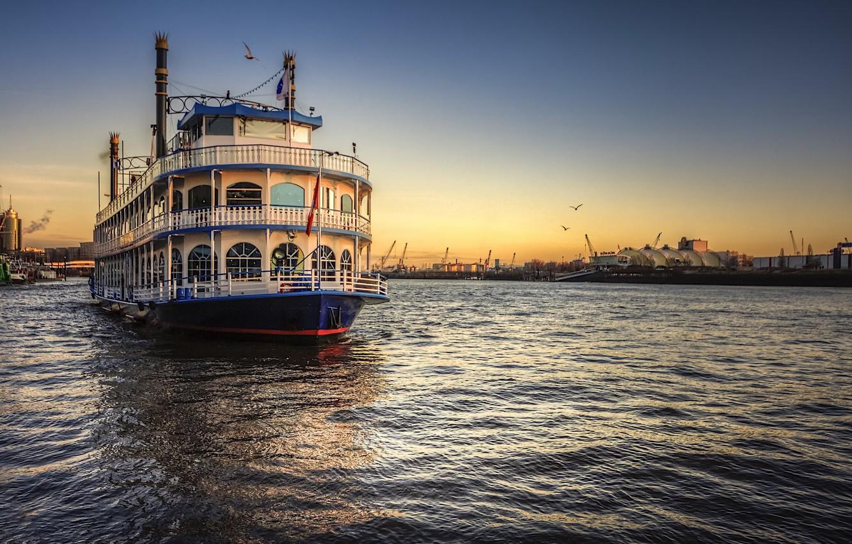 Photo wallpaper ship, Hamburg, Elbe