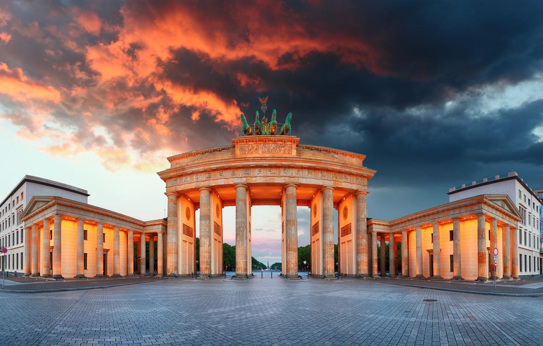 Photo wallpaper the sky, clouds, lights, the evening, Germany, area, monument, architecture, Berlin, Brandenburg gate, Brandenburg Gate
