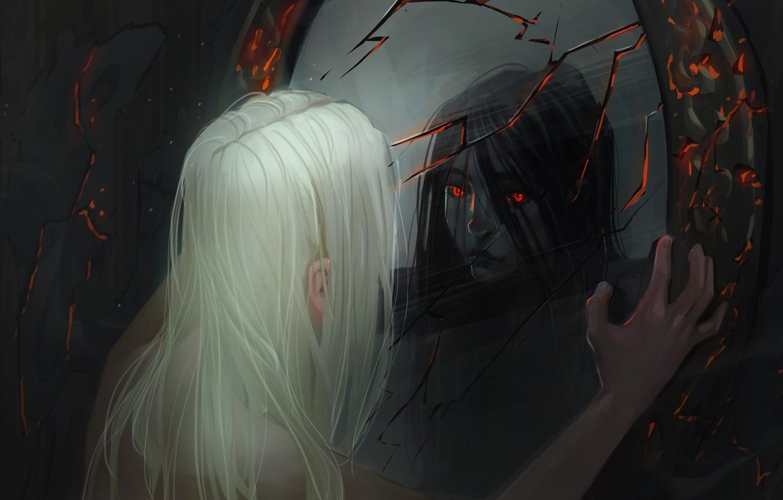 Photo wallpaper girl, cracked, reflection, mirror, the demon