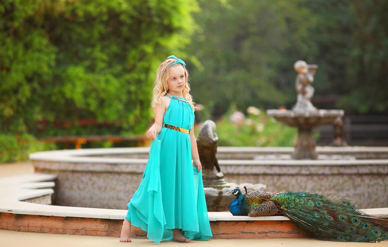 Photo wallpaper Park, bird, girl, peacock, Fantan