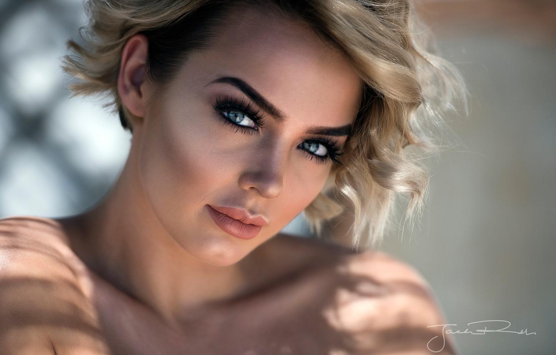 Photo wallpaper look, face, model, portrait, makeup, hairstyle, blonde, beauty, bokeh, closeup, Rosie Robinson, Jack Russell