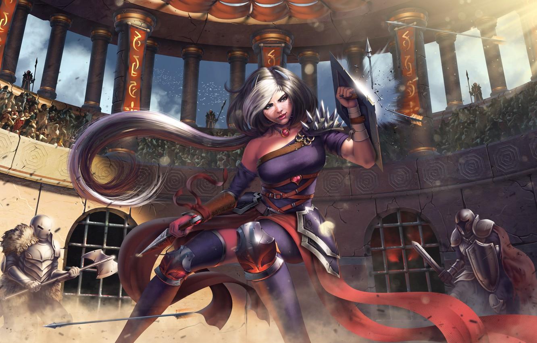 Photo wallpaper girl, elf, dagger, battle, shield, arena, Gladiator, Antalya