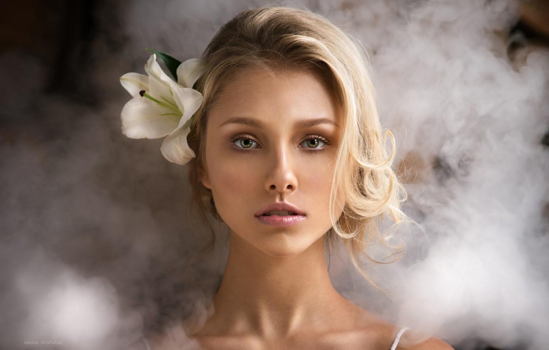 Photo wallpaper girl, flower, green eyes, smoke, photo, photographer, model, bokeh, lips, face, blonde, portrait, mouth, close …