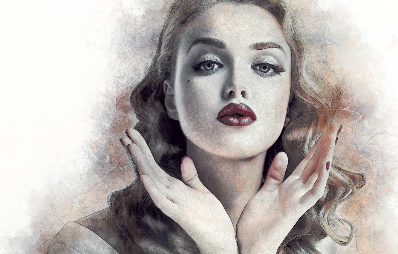 Photo wallpaper girl, face, portrait, hands, art, lips