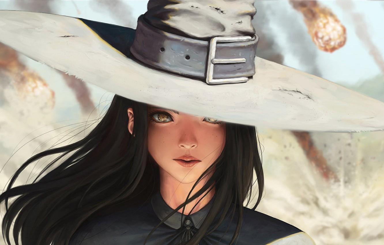 Wallpaper Black Hair Girl Hat Face Freckles Meteorite Anime