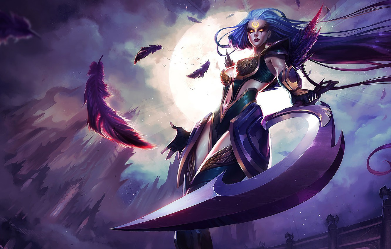 Photo wallpaper Girl, The game, The moon, Feathers, Girl, Weapons, Hammer, Moon, Game, League of legends, Weapon, …