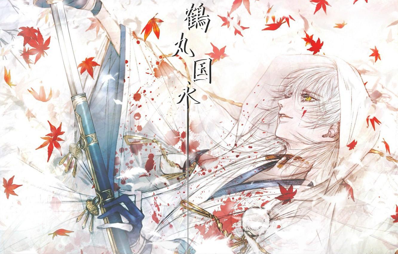 Photo wallpaper blood, katana, samurai, characters, gloves, guy, white hair, Japanese clothing, maple leaves, yellow eyes, sheath, …