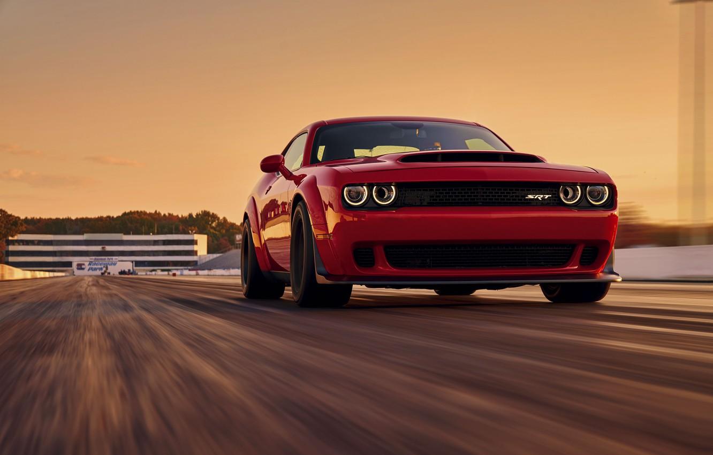 Photo wallpaper Challenger, red, sportcar, 2018, musclecar, SRT, Track, Demon, Drag Racing