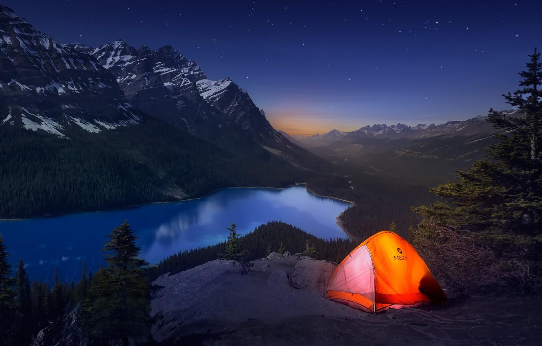Wallpaper light, mountains, night, Canada, tent, journey ...
