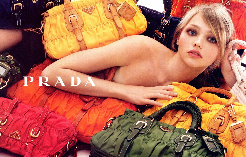 Photo wallpaper bags, beautiful girl, Prada, Pivovarova