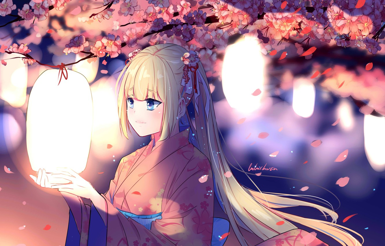 Photo wallpaper the wind, Sakura, girl, kimono, lanterns, flowering, long hair, art, Lluluchwan