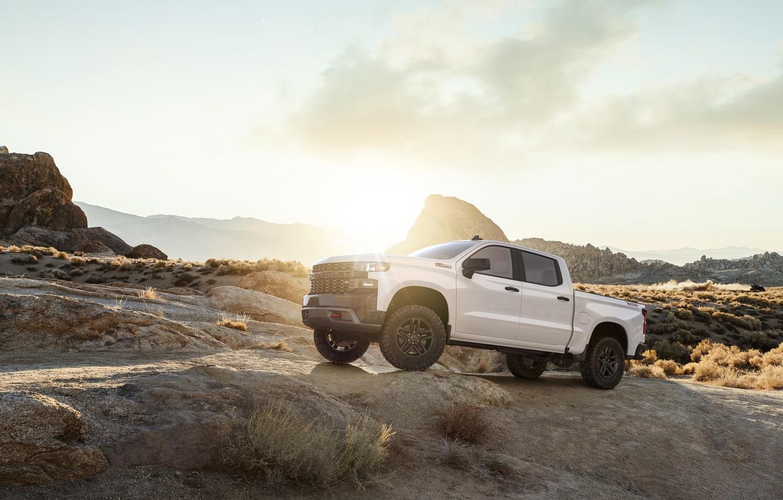 Photo wallpaper White, Truck, Silverado, Z71, Pick Up, Chevroet, 2019