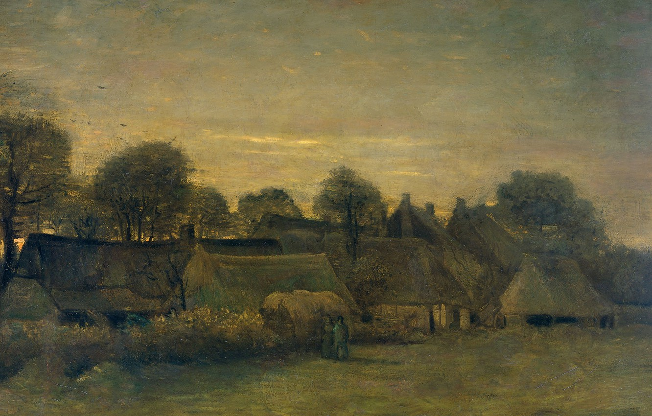 Photo wallpaper house, oil, picture, Vincent van Gogh, The Village In The Evening