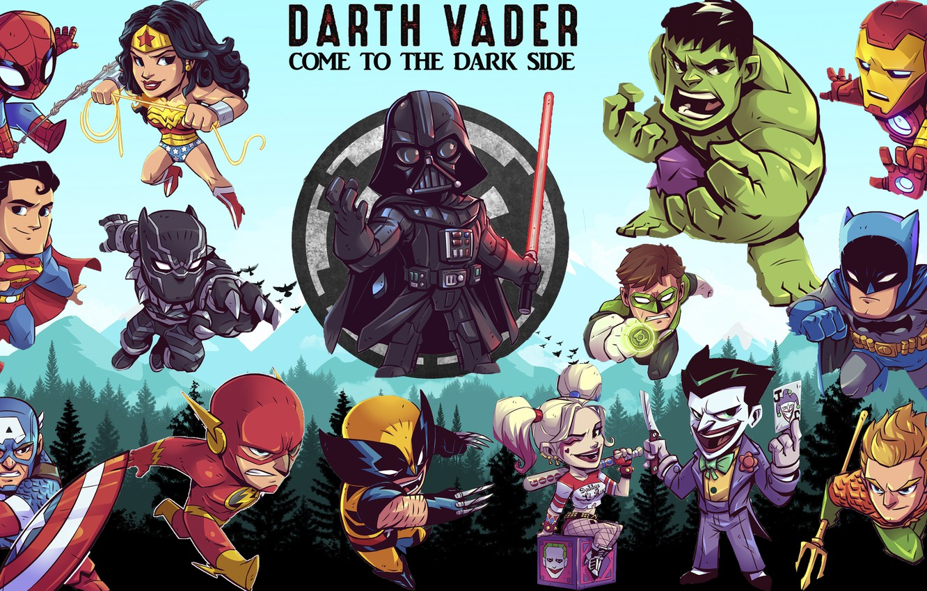 Wallpaper Star Wars Darth Vader Wonder Woman Hulk Batman Wolverine Iron Man Marvel Joker Green Lantern Superman Spider Man Flash Harley Quinn Aquaman Black Panther Images For Desktop Section Fantastika Download