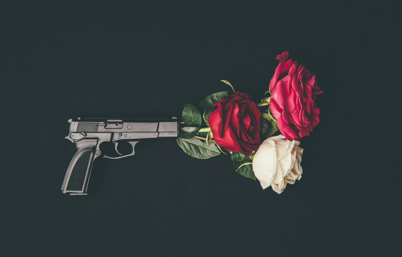 Photo wallpaper flowers, gun, roses, buds