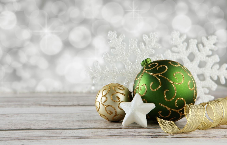 Photo wallpaper decoration, holiday, balls, star, new year, tape, snowflake