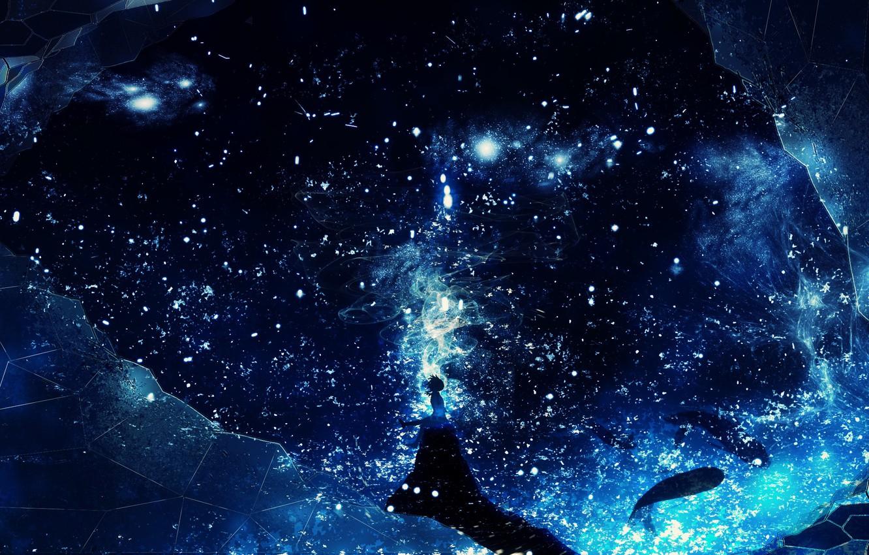 Photo wallpaper girl, space, fantasy, whales, Y_Y