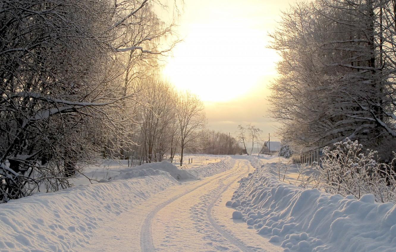 Photo wallpaper winter, road, village, winter road
