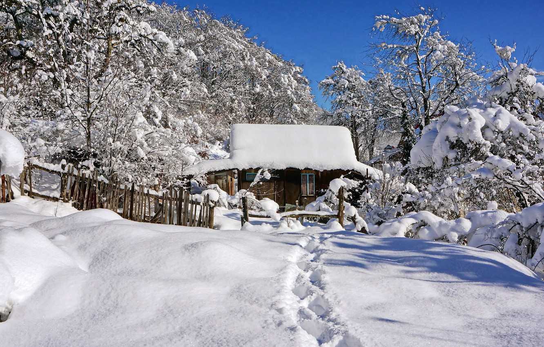 Photo wallpaper winter, snow, house, path