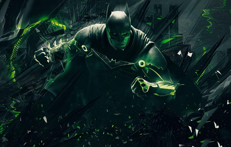Photo wallpaper green, Batman, power, man, bat, hero, suit, DC Comics, Bruce Wayne, strong, Injustice, yuusha, super …