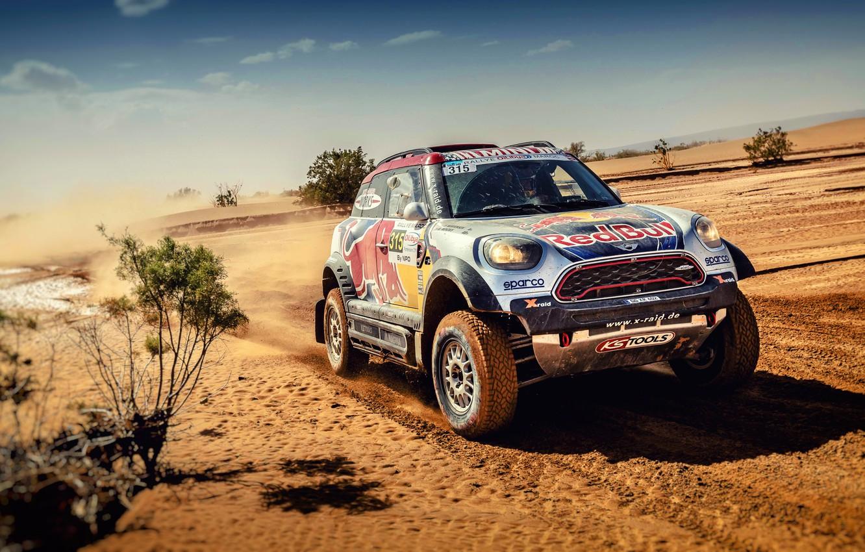 Photo wallpaper Sand, Auto, Mini, Sport, Desert, Machine, Speed, Race, Rally, SUV, Rally, The front, RedBull, X-Raid …