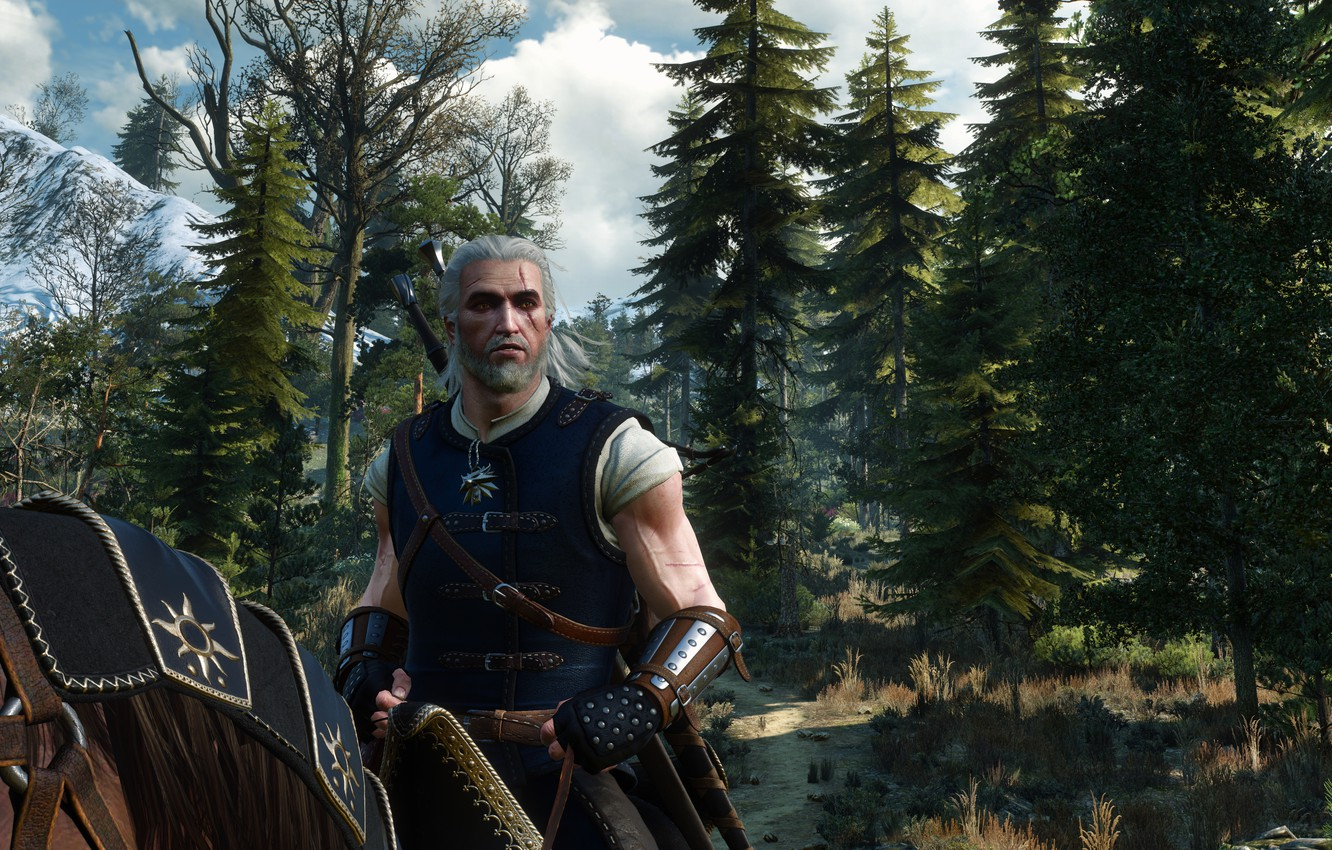 Photo wallpaper Road, Horse, Trees, The Witcher, The Witcher, Geralt, Medallion, The Witcher 3 Wild Hunt, The …